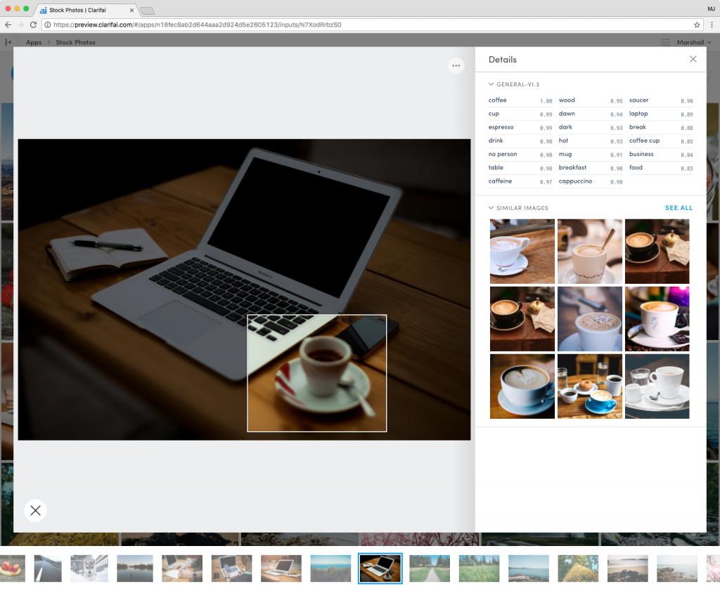 Clarifai Computer Vision Portal with picture of coffee cup